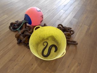 Charles Avery, Untitled (Chain, Rope, Bucket, Buoy, Eels), 2015, Iron chain, rope, bucket, buoy, glass, Dimensions vary