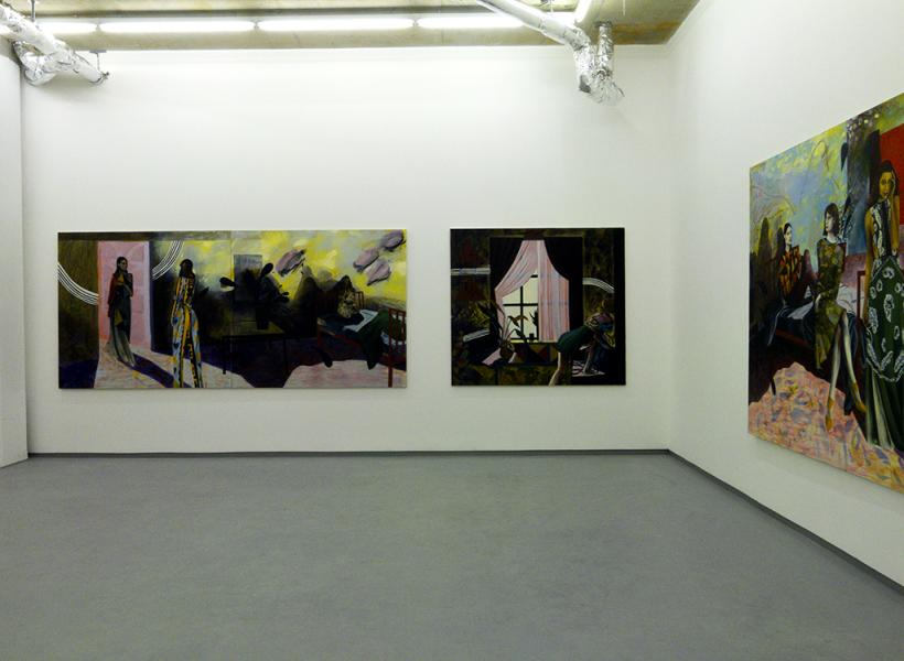 Installation view of (from left) Windy Here (Diptych) (2015) Jessie Makinson, Oil on canvas, 140 x 300 cm, Southampton Way (2015) Jessie Makinson, Oil on canvas, 160 x 200 cm