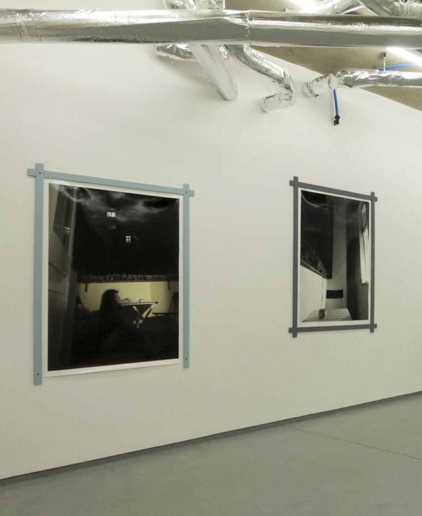 Installation view, Concrete Fictions, (from left): Pale Yellow (Seated) (2015), Kadie Salmon, Oil Paint, Photograph, 130 x 101 cm, Pale Yellow (Chair) (2015), Kadie Salmon, Black and white photograph, 130 x 101 cm