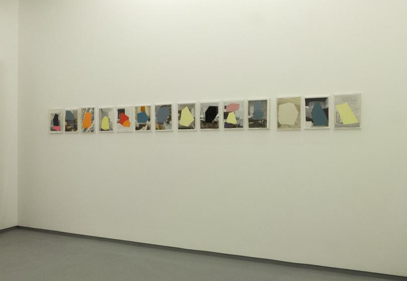 Installation view, Concrete Fictions, (2013) Ricardo Alcaide, Acrylic on magazine page