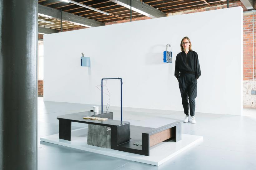 Artist Magali Reus pictured with her exhibition 'Particle of Inch' at The Hepworth Wakefield