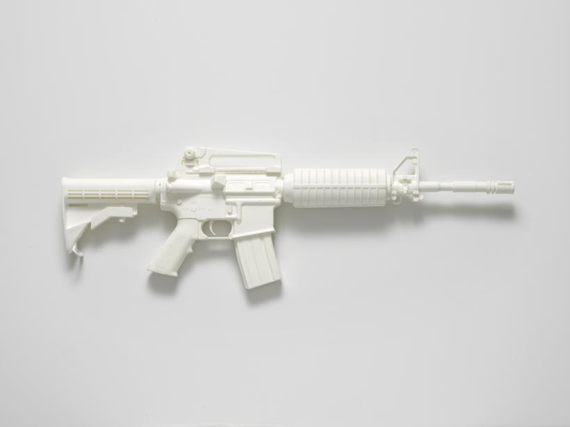 M4A1 carbine (from the series Painkillers I), 2014. Powdered analgesic, polyurethane resin, life-size cast, 76 x 25 x 7.2 cm.