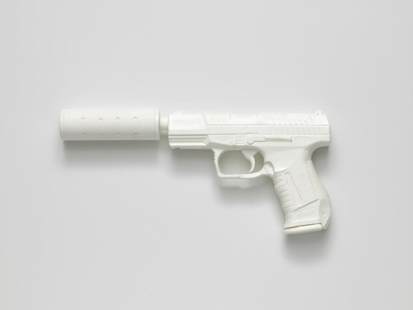 Walther P99 with Silencer (from the series Painkillers II), 2015. Powdered analgesic, polyurethane resin, life-size cast, 30 x 13 x 3 cm.