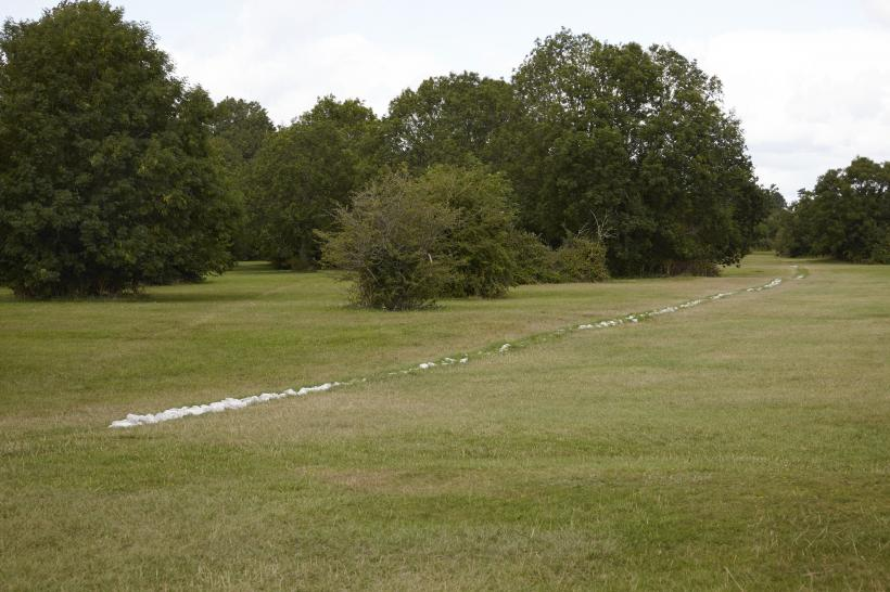Installation view of Boyhood Line by Richard Long on The Downs, Bristol, Part of TIME AND SPACE at Arnolfini, 2015