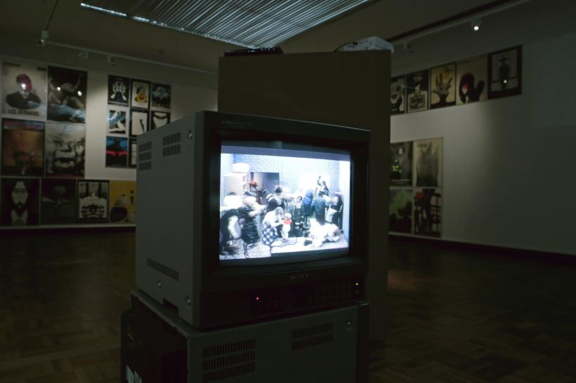 Zbigniew Rybczynski, Tango, 1980. Installation view of Tomorrow Was a Montage, Cooper Gallery DJCAD. Photo: Kathryn Rattray 2015. Courtesy of Cooper Gallery DJCAD and Zbig Vision Ltd.