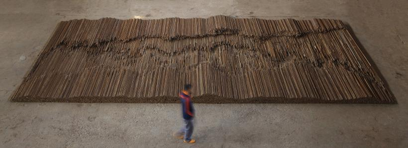 Ai Weiwei, Straight, 2008-12. Steel reinforcing bars, 600 x 1200 cm