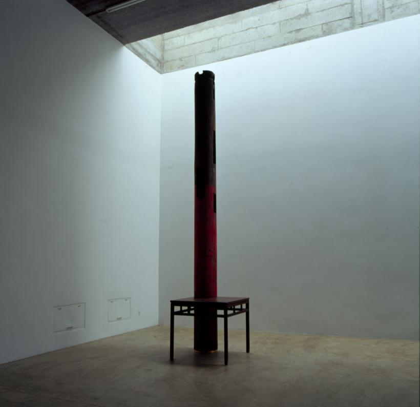 Ai Weiwei, Table and Pillar, 2002. Wooden pillar and table from the Qing Dynasty (1644-1911), 460 x 90 x 90 cm