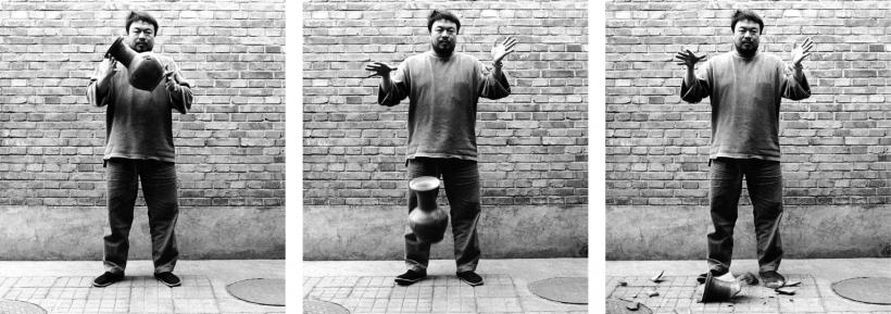 Ai Weiwei, Dropping a Han Dynasty Urn, 1995. 3 black and white prints, each 148 x 121 cm