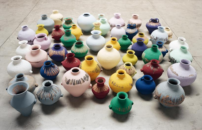 Ai Weiwei, Coloured Vases, 2006. Neolithic vases (5000-3000 BC) with industrial paint, dimensions variable