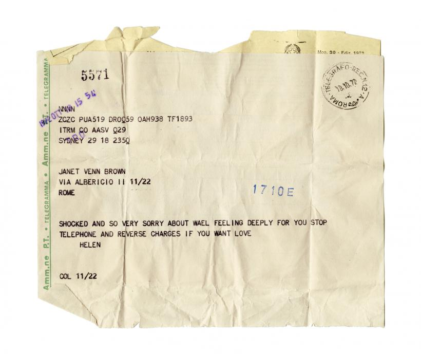 Emily Jacir, Material for a film (detail) (Telegram: 18/10/1972) 2004. Multimedia installation, 3 sound pieces, 1 video, texts, photos, archival material