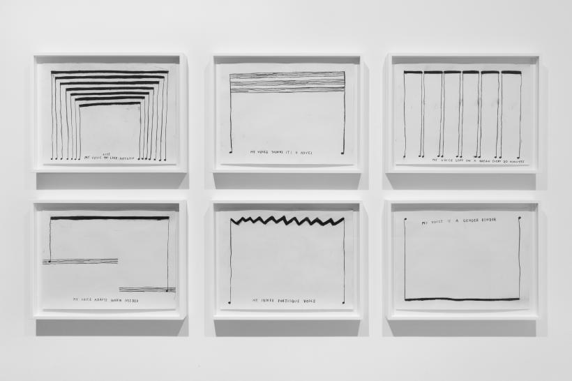 Christine Sun Kim, charcoal drawings on paper, installation view, Carroll / Fletcher