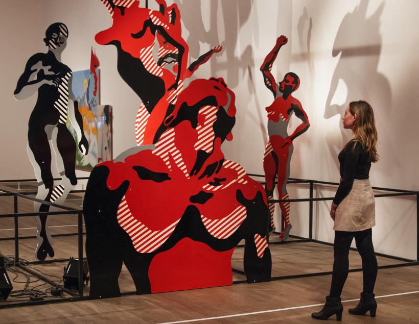 Installation views of  The EY Exhibition: The World Goes Pop, Tate Modern, 17 September - 24 January 2015. Henri Cueco, Large Protest, 1969