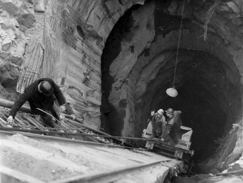Men work on a tailrace tunnel for Cruachan Power Station, 1963.