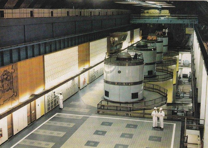 Publicity postcard of the recently completed turbine hall at Cruachan Power Station, c. 1965.
