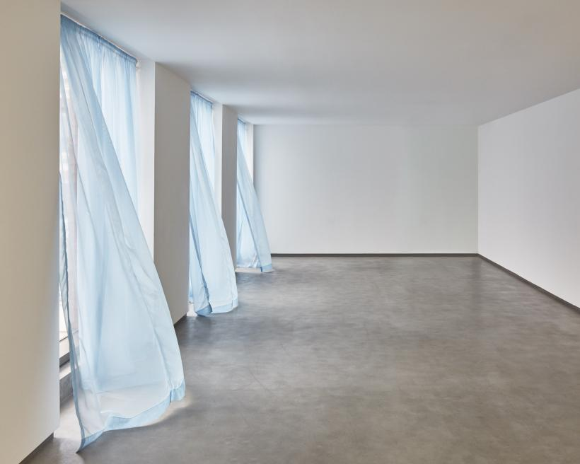 "Felix Gonzalez-Torres, ""Untitled"" (Loverboy), 1989, Blue fabric and hanging device  Installation view at the MAC, Belfast"