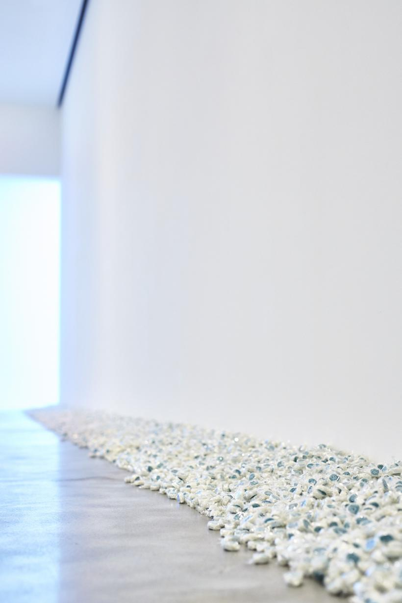 "Felix Gonzalez-Torres, ""Untitled"" (Lover Boys), 1991, Candies individually wrapped in clear cellophane, endless supply. Ideal weight: 355lbs Installation view at the MAC, Belfast"