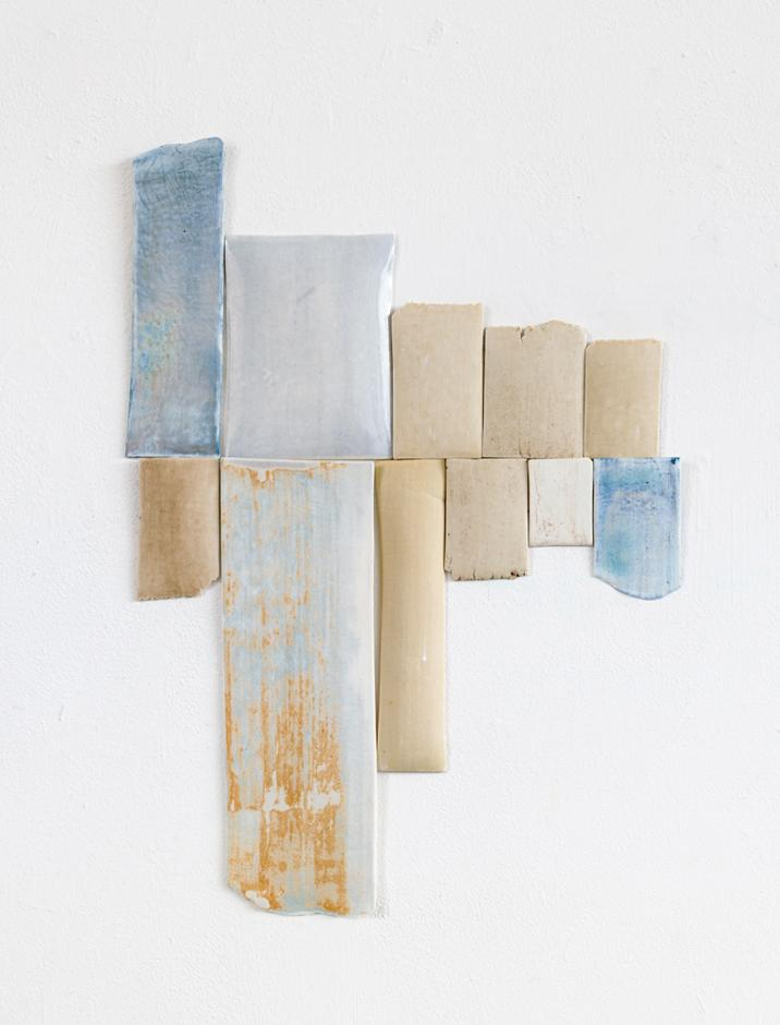 Jane Bustin, Blue Notes, 2015, porcelain, terra siglata, oxides, glaze, 41 x 30 cm overall