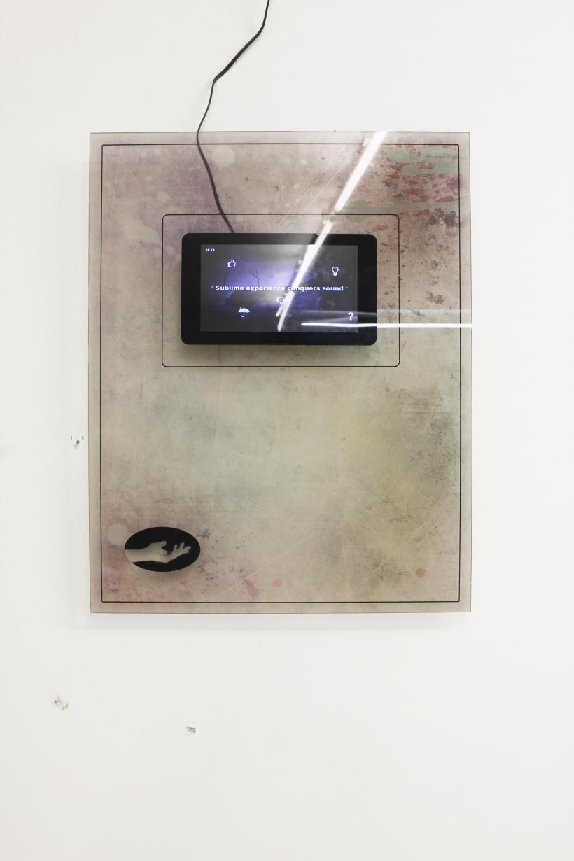 Harm van den Dorpel, #B  2015 Touch-sensitive screen mounted on printed acrylic Raspberry Pi running interactive algorithmic software 38 x 48 cm