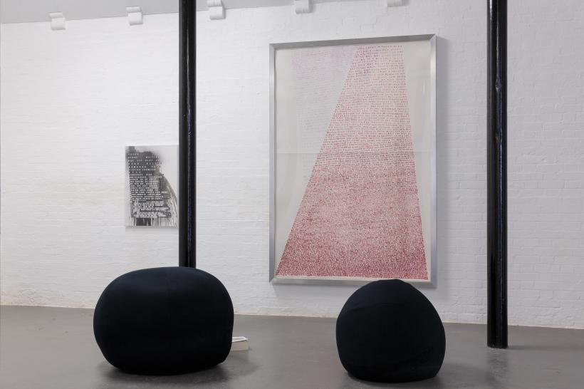 Fiona Banner, Striptease, 2003. David Roberts Collection, London. Courtesy the artist. and Full Stop Bean Bags, 2015. Courtesy the artist and Frith Street Gallery, London.