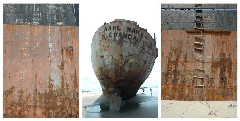 Kiluanji Kia Henda, Triptych, Karl Marx, Luanda, photographs on aluminium, each 130 cm x 86 cm, 2005.