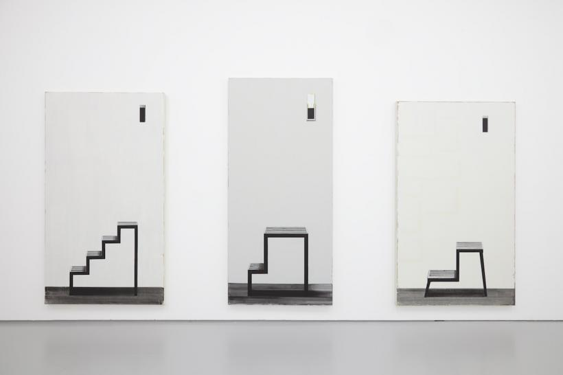 From left to right: Squint 20 (2015) Oil paint on canvas, 223 x 122 cm; Squint 27 (2015) Oil paint on canvas, 229 x 107 cm; Squint 18 (2015) Oil paint on canvas, 206 x 121 cm