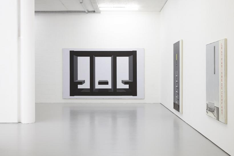 From left to right: Confessional (2013-2015) Oil paint on canvas, 388 x 245cm; Le Strabisme De L'enfant (2015) Oil paint on canvas, 228 x 131 cm; Leper Squint 4 (2012-13) Oil paint on canvas, 153 x 115 cm