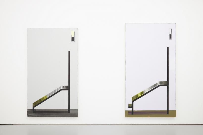 From left to right: Squint 19 (2015) Oil paint on canvas, 223 x 122cm; Squint 28 (2015) Oil paint on canvas, 240 x 130 cm