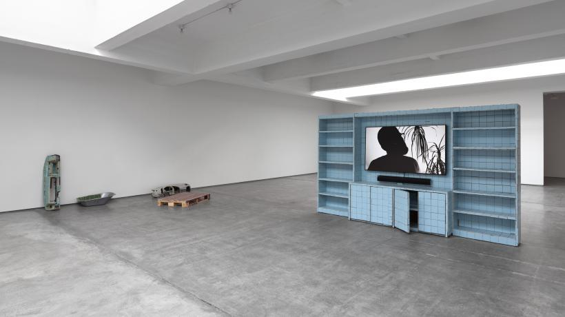 Installation view, Matias Faldbakken, EUROPE IS BALDING, Paula Cooper Gallery, New York (2/18 – 3/19/16)