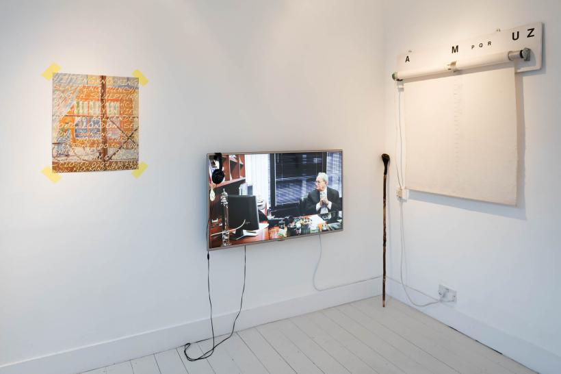 l-r Freek Wambacq, Hitting, Knocking, Slapping, Punching, 2015, Fiona Marron, After Automation, 2013, Seanie Barron, Holly stick with bog oak handle and road reflectors, resembling a head, 2015-16, John Latham, Time Base Roller with Graphic Score