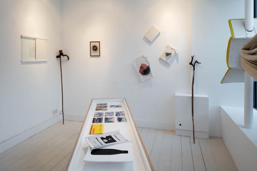 Installation view featuring John Latham, Seanie Barron, John Carson