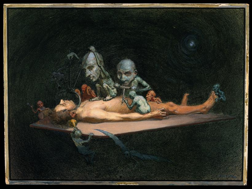 An unconscious naked man, R Cooper, 1912