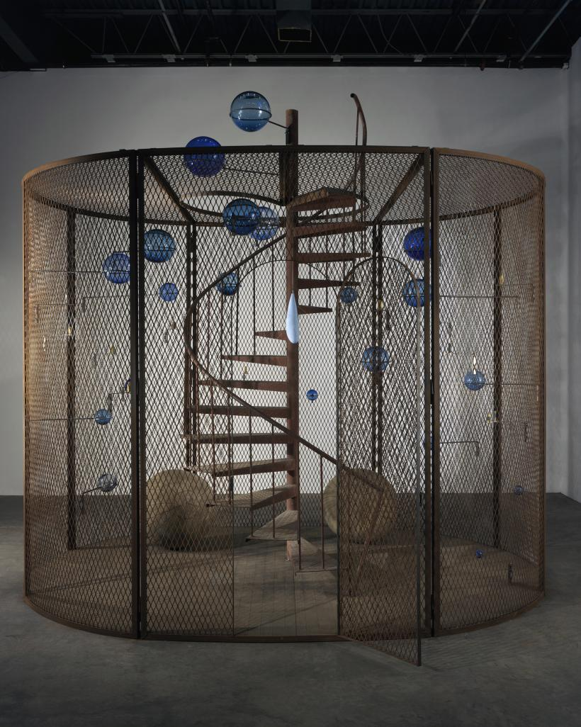 Louise Bourgeois, Cell (The last climb), 2008, Steel, glass, rubber, thread and wood, 384.8 x 400.1 x 299.7 cm