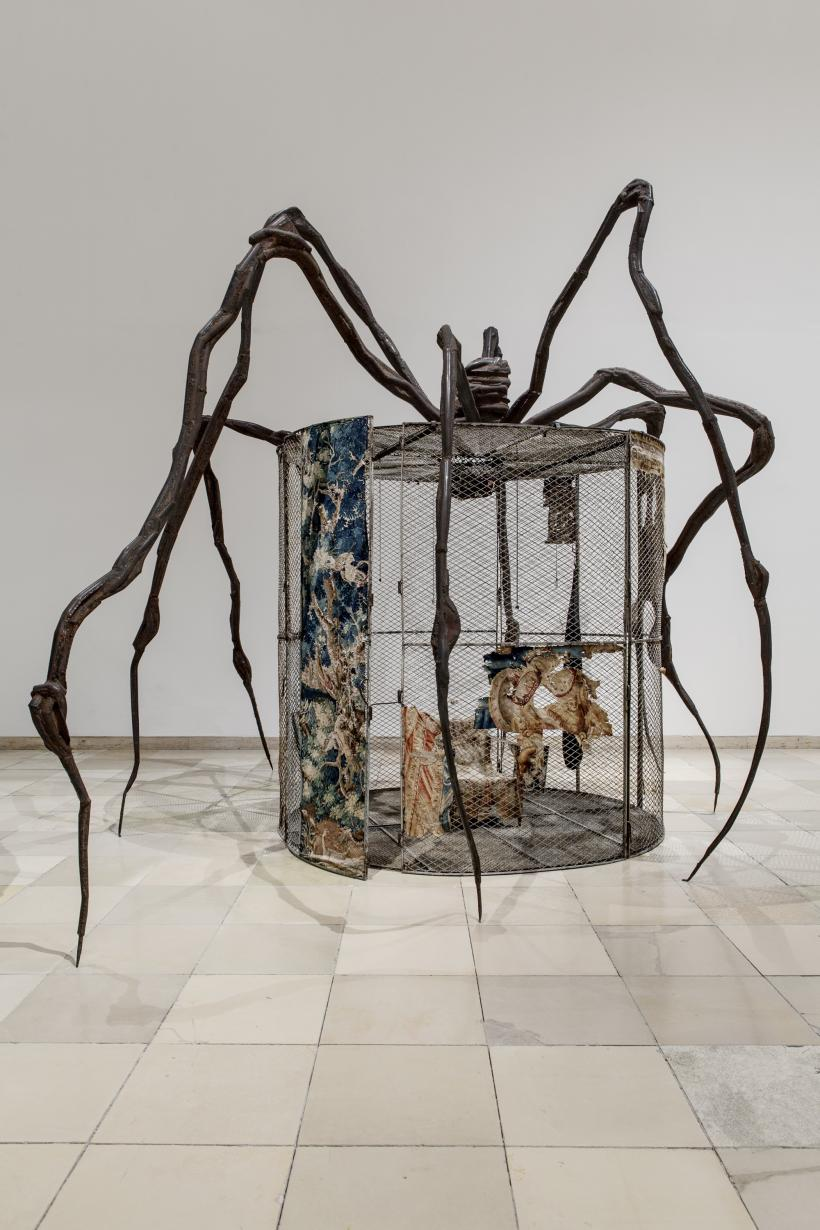 Louise Bourgeois, Spider, 1997, Steel, tapestry, wood, glass, fabric, rubber, silver, gold and bone, 449.6 x 665.5 x 518.2 cm