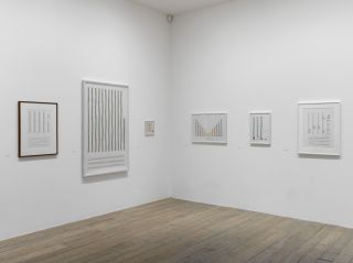 Exhibition view Channa Horwitz, Works from the series Sonakinatography, 1970-2011