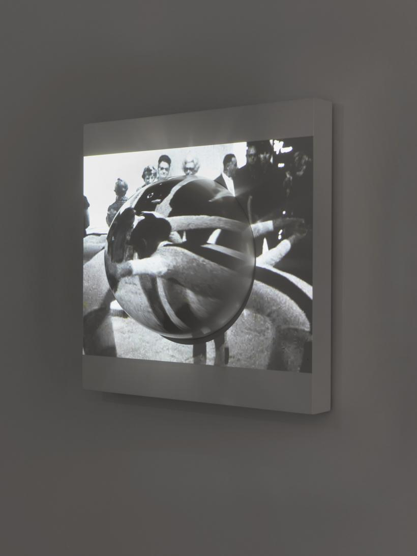 Channa Horwitz, Dome Inside Square, 1968. Acrylic on wood, At the Tone the Time Will Be, 1969. Performance at Orlando Gallery, Encino, California 16 mm film, digitised. Film by Marlene Matlow