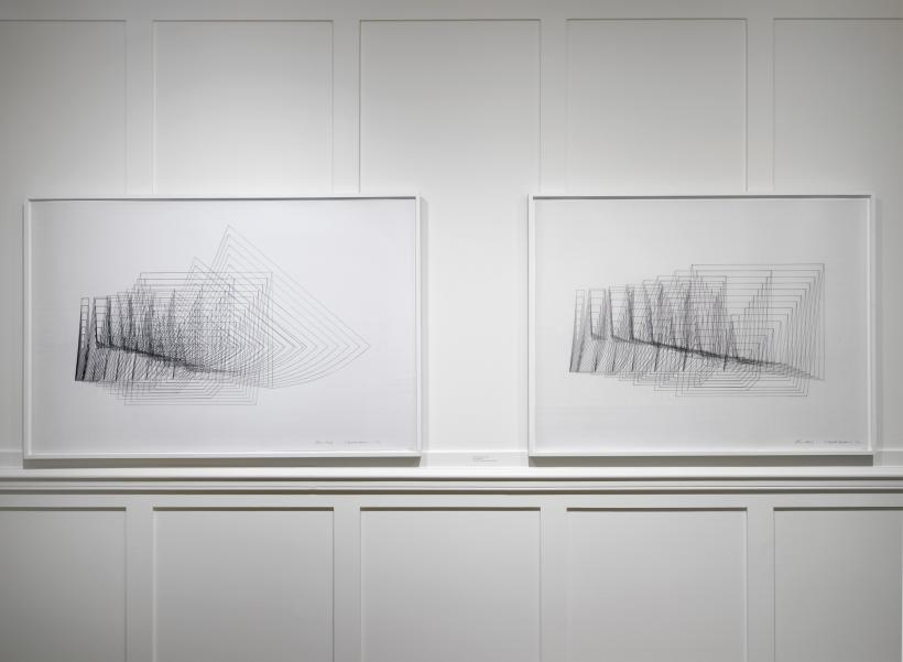 Channa Horwitz, 8 Expanded, Variation I and 8 Expanded, Variation II, 1981, Ink on graph mylar