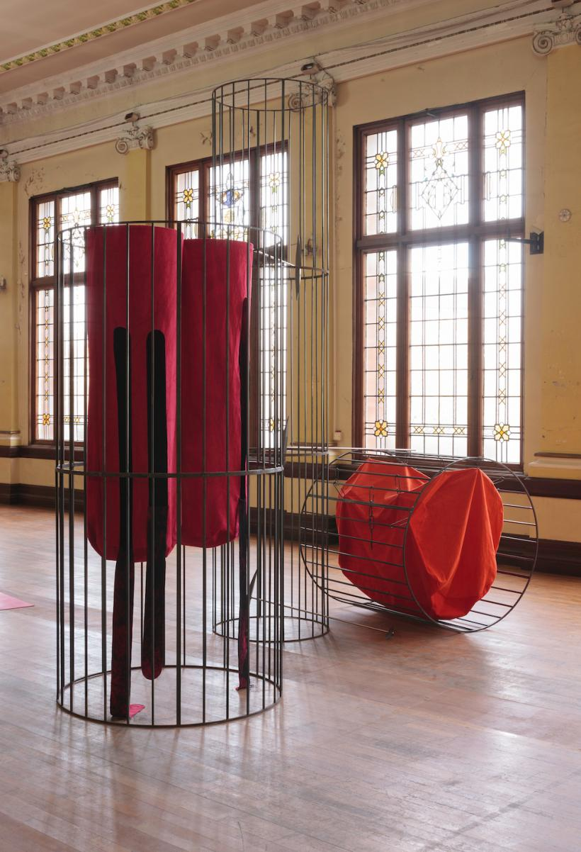 Claire Barclay: Bright Bodies, installation view at Kelvin Hall, 2016