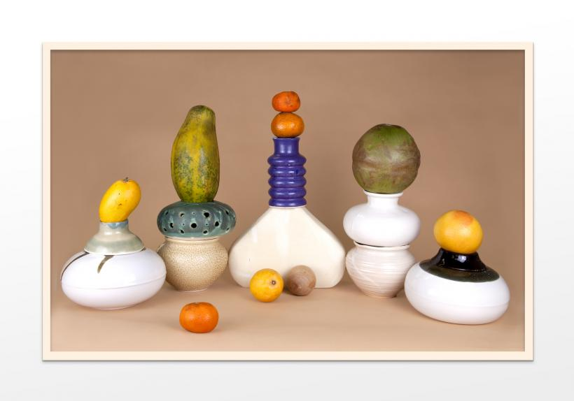 Fruit and Ceramic Arrangement 4 (Abundance, Anxiety, Balance, Citrus, Collapse, Desire, Digestion, Distribution, Everyday, Excess, Growth, Logevity, Precarity, Saturation, Storage, Surplus, Time, Uncertainty, Yellow)