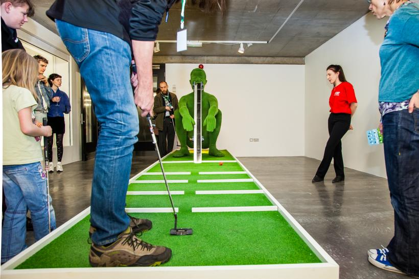 Doug Fishbone's Leisure Land Golf, New Art Exchange, Nottingham, April 2016, photo by Bartosz Kali