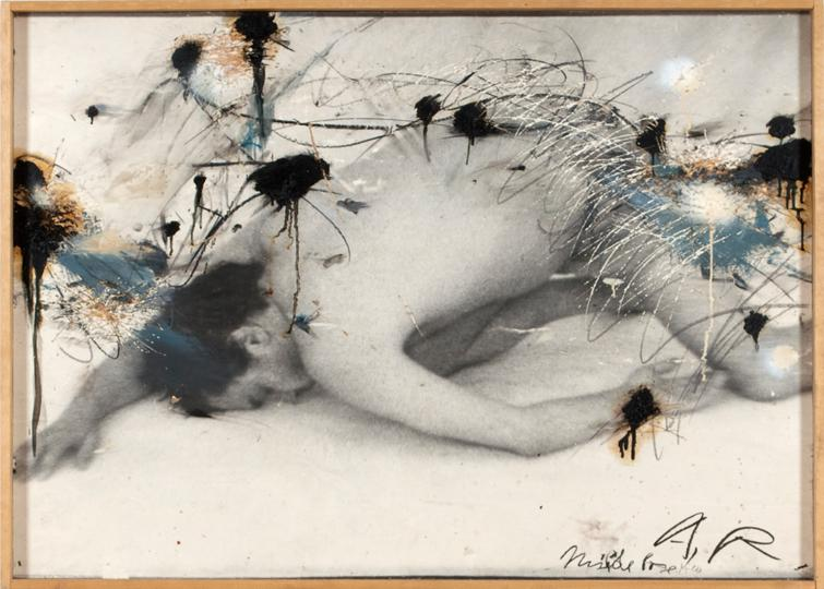 12Arnulf Rainer, Mude Pose (Milde), 1973 74, Grease crayon, Oil on photo on wood, 88 x 122 cm