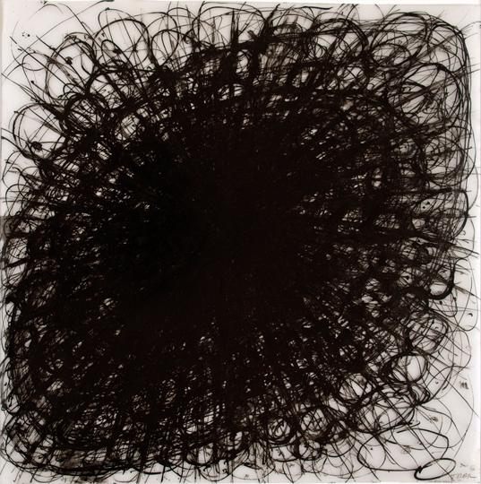 6Arnulf Rainer, Blume , 1957, Watercolor on Ultraphan (graph paper), 39,7 x 39,7 cm