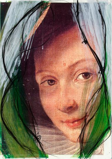 8Arnulf Rainer, Frau aus Flamen, 2010, Black Pencil and Acrylic on Laserprint, 42 x 29,7 cm