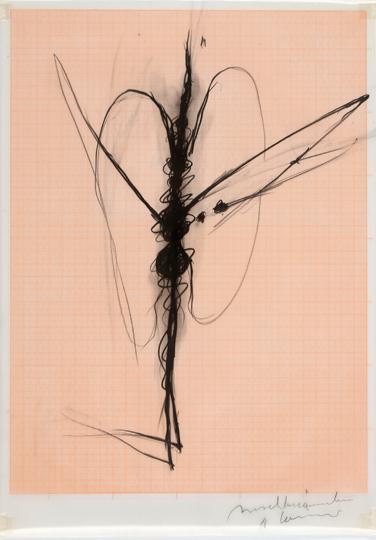 9Arnulf Rainer, Insektenmannchen, undated, Black pencil on Ultraphan (graph paper), 42 x 29,7 cm