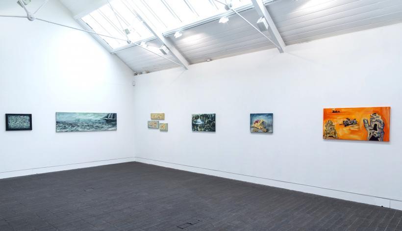 Installation view with works by Archie Franks