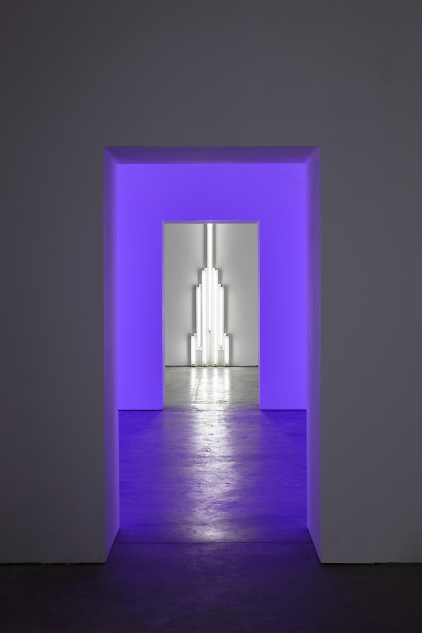 Dan Flavin, It is what it is and it ain't nothing else. Installation view, Ikon Gallery (2016). Photo by Stuart Whipps, courtesy of Ikon. © 2016 Stephen Flavin/Artists Rights Society (ARS), New York