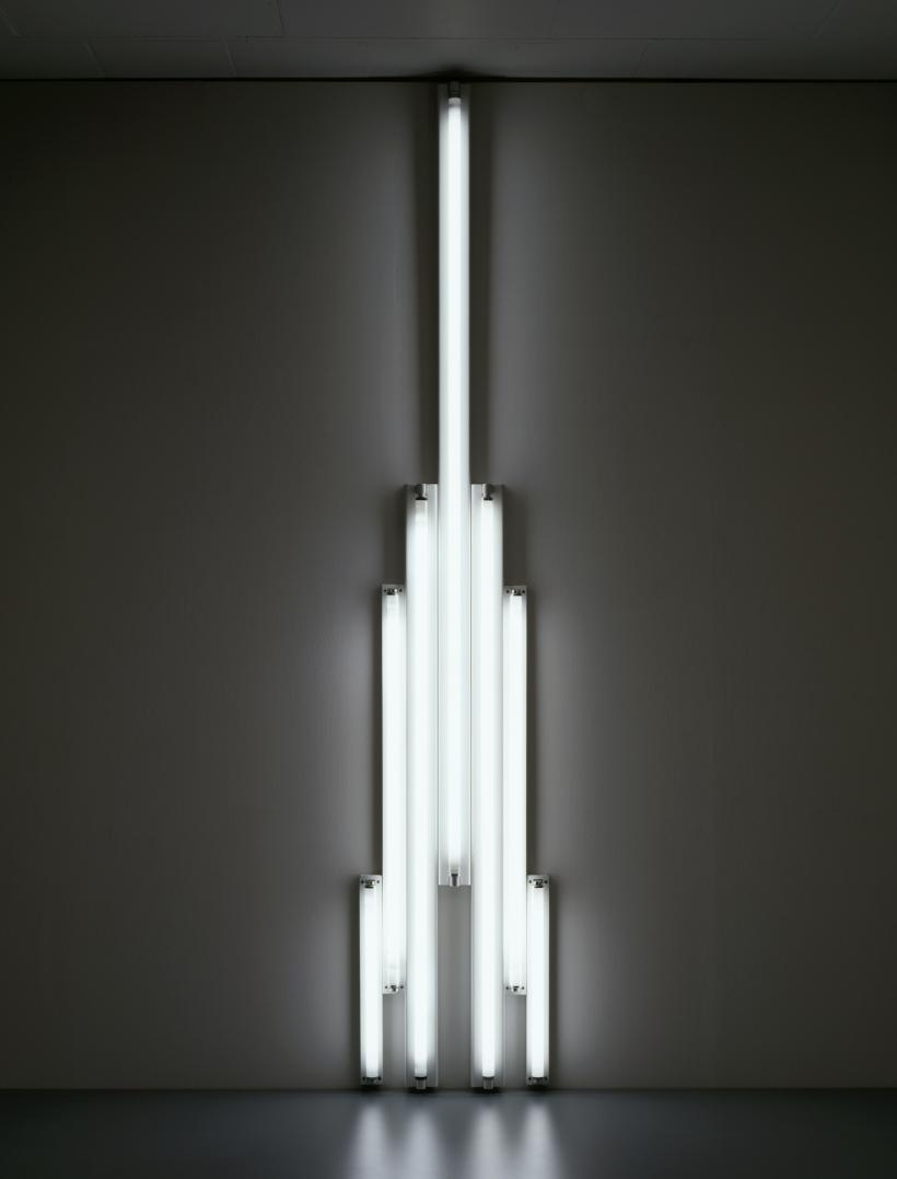"Dan Flavin ""monument"" for V. Tatlin, 1966 cool white fluorescent light 10 ft. (305 cm) high © 2016 Stephen Flavin/Artists Rights Society (ARS), New York; courtesy of David Zwirner, New York/London"