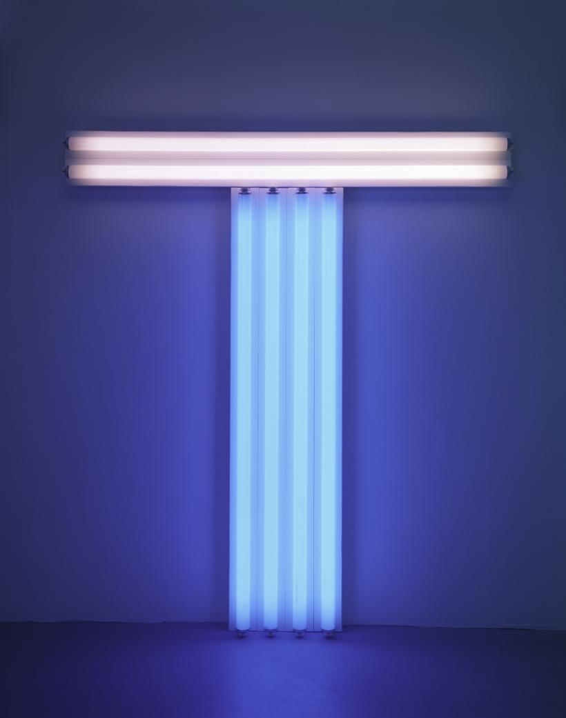 Dan Flavin untitled (to Don Judd, colorist) 4, 1987 pink and blue fluorescent light 4 ft. (122 cm) high, 4 ft. (122 cm) wide © 2016 Stephen Flavin/Artists Rights Society (ARS), New York; courtesy of David Zwirner, New York/London
