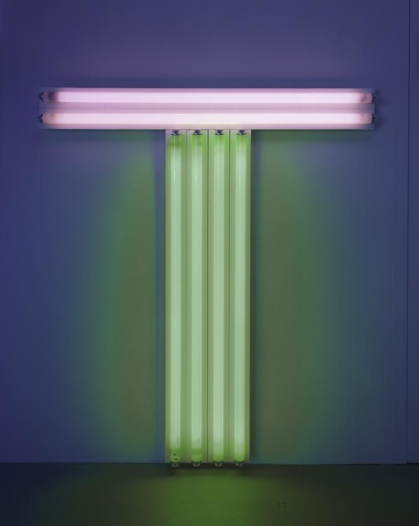 Dan Flavin untitled (to Don Judd, colorist) 5, 1987 pink and green fluorescent light 4 ft. (122 cm) high, 4 ft. (122 cm) wide © 2016 Stephen Flavin/Artists Rights Society (ARS), New York; courtesy of David Zwirner, New York/London
