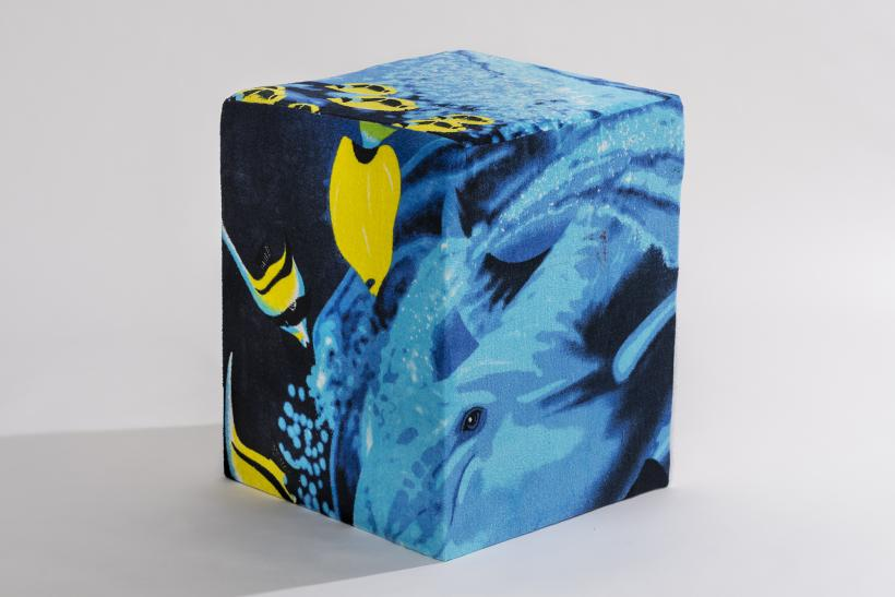Beach towel upholstered stool for Sous Sol