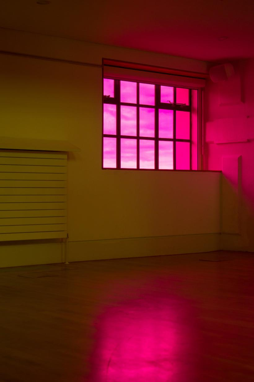 Liz West, Solstice Ritual, Installation view, 2016, Optically clear Yellow & Hot Pink Vinyl